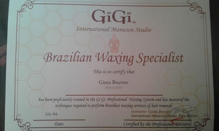 Bikini vaksācija sertifikāts
